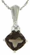 "1.83ctw Smokey Quartz  Pendant in Sterling Silver with 18"" Chain"