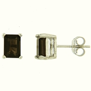1.90ctw Smokey Quartz Stud  Earrings in Sterling Silver