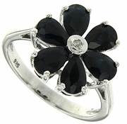 1.91ctw Black Sapphire and Diamond Ring in Sterling Silver