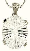 "10.25ctw White Topaz Pendant in Sterling Silver with 18""Chain"