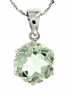 """10.30ctw Green Amethyst Pendant in Sterling Silver with 18"""" Chain"""