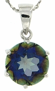 "10.30ctw Mystic Blueish Pendant in Sterling Silver with 18"" Chain"