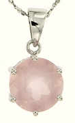 """10.30ctw Rose Quartz Pendant in Sterling Silver with 18"""" Chain"""