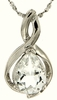 "10.35ctw White Topaz Pendant in Sterling Silver with 18""Chain"