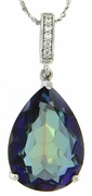"13.56ctw Mystic Blueish Pendant in Sterling Silver with 18"" Chain"