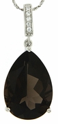 "13.56ctw Smokey Quartz Pendant in Sterling Silver with 18"" Chain"