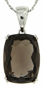 "14.15ctw Smokey Quartz Pendant in Sterling Silver with 18"" Chain"