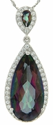 """15.02ctw Mystic Pendant in Sterling Silver with 18"""" Chain"""