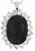 "18.70ctw Sapphire and White Topaz Pendant in Sterling Silver with 18""Chain"