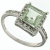 2.10ctw Green Amethyst and White Sapphire Ring in Sterling Silver