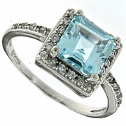 2.10ctw Sky Topaz and White Sapphire Ring in Sterling Silver