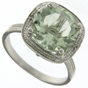 2.13ctw Green Amethyst and Diamond Ring in Sterling Silver
