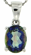 "2.14ctw Mystic Blueish Pendant in Sterling Silver with 18"" Chain"