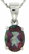 "2.14ctw Mystic Pendant in Sterling Silver with 18"" Chain"