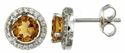2.15ctw Citrine with CZ Earrings in Sterling Silver