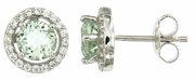 2.15ctw Green Amethyst with CZ Earrings in Sterling Silver