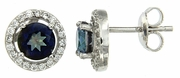 2.15ctw Mystic Blueish with CZ Earrings in Sterling Silver