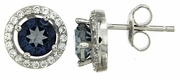 2.15ctw Mystic Iolite Blue with CZ Earrings in Sterling Silver