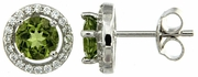 2.15ctw Peridot with CZ Earrings in Sterling Silver