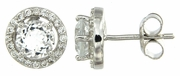 2.15ctw White Topaz with CZ Earrings in Sterling Silver