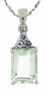 "2.30ctw Green Amethyst and Tanzanite Pendant in Sterling Silver with 18"" Chain"