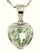 "2.37ctw Green Amethyst Pendant in Sterling Silver with 18"" Chain"