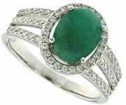2.38ctw Emerald Ring in Sterling Silver