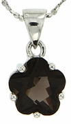 "2.43ctw Smokey Quartz Pendant in Sterling Silver with 18"" Chain"