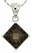 """2.43ctw Smokey Quartz Pendant in Sterling Silver with 18""""Chain"""