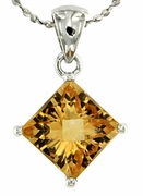 "2.45ctw Citrine Pendant in Sterling Silver with 18"" Chain"