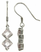 2.45ctw Rose Quartz Earrings in Sterling Silver