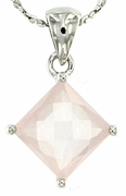 "2.46ctw Rose Quartz Pendant in Sterling Silver with 18""Chain"
