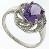 2.55ctw Amethyst and Diamond Ring in Sterling Silver