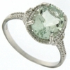 2.57ctw Green Amethyst and Diamond Ring in Sterling Silver
