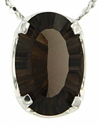 "2.74ctw Smokey Quartz Pendant in Sterling Silver with 18""Chain"