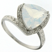 2.77 Opal and Diamond Ring in Sterling Silver