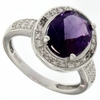 2.92ctw Amethyst and Diamond Ring in Sterling Silver