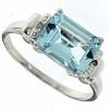 2.10ctw Sky Topaz and Created White Sapphire Ring in Sterling Silver
