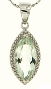"2.94ctw Green Amethyst Pendant in Sterling Silver with 18"" Chain"