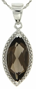 "2.94ctw Smokey Quartz Pendant in Sterling Silver with 18"" Chain"