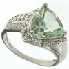 2.98ctw Green Amethyst and Diamond Ring in Sterling Silver