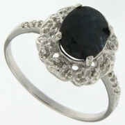 3.01ctw Sapphire and Diamond Ring in Sterling Silver