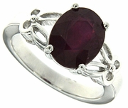 3.05ctw Glass Filled Ruby Ring in Sterling Silver