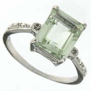 3.09ctw Green Amethyst and Diamond Ring in  Sterling Silver