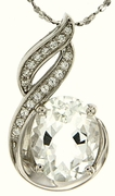 "3.11ctw White Topaz Pendant in Sterling Silver with 18""Chain"