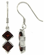 3.19ctw Garnet Earrings in Sterling Silver
