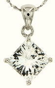 "3.19ctw White Topaz Pendant in Sterling Silver with 18""Chain"
