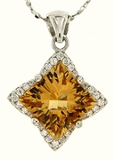"3.23ctw Citrine Pendant in Sterling Silver with 18"" Chain"