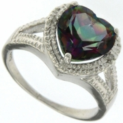 3.23ctw Mystic and Diamond Ring in Sterling Silver