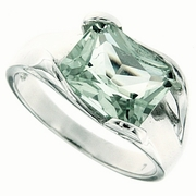 3.24ctw Green Amethyst Ring in Sterling Silver